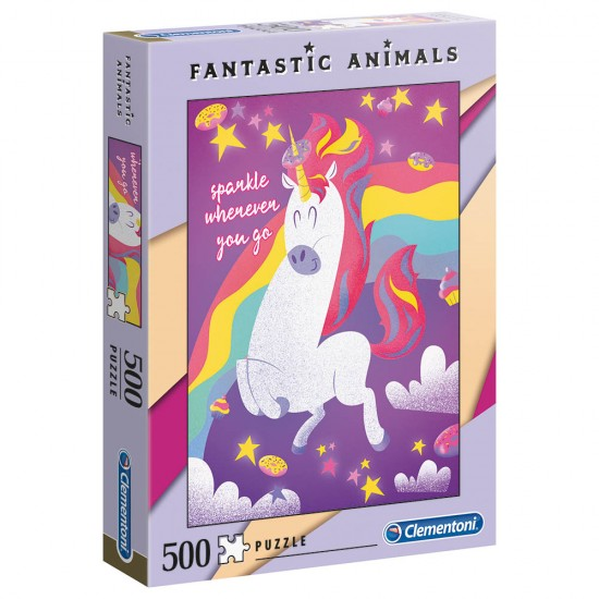 CLEMENTONI - ADULT PUZZLE FANTASITC ANIMALS UNICORN 500PCS